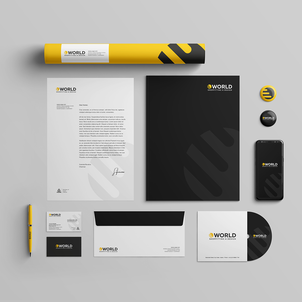 world_shopfitting_design_corporate_identity_branding_roll_folder_paper_pen_businesscard